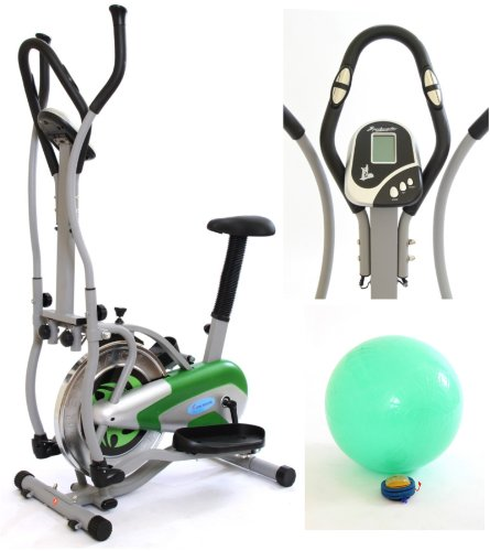 Gym Master 2 in 1 Elliptical Exercise Bike & Cross Trainer for Cardio Workout in Green with Gym Ball - 1 Year Warranty