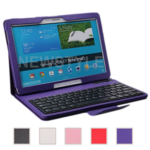 Newstyle Removable Wireless Bluetooth Keyboard Abs Plastic Laptop Stylish Keys And Protective Case For Samsung Galaxy Note Pro & Tab Pro 12.2 Inch Tablet (Purple)