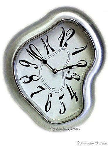 Retro Brushed Silver Modern Metal Salvador Dali Inspired Wall Clock Decor