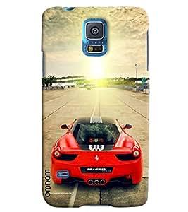 Omnam Red Black Ferrari On Track Printed Designer Back Cover Case For Samsung Galaxy S5