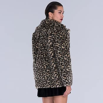 Choies Women Elegant Vintage Leopard Print Lapel Faux Fur Coat Fall Winter Outwear