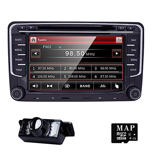 HIZPO-2-Din-Autoradio-Naviceiver-fr-Jetta-Golf-Passat-mit-7-Zoll-Touch-Screen-GPS-Navigation-Bluetooth-Freisprechfunktion-CanBus-DVD-CD-Player