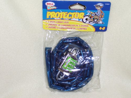 Buy Low Price Protector 3 Digit Combo Lock & Chain for Bicycle Blue (B001UAMS9K)