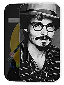 "Johnny Depp Love Printed Designer Mobile Back Cover For ""Motorola Moto E"" By Humor Gang (3D, Matte Finish, Premium Quality, Protective Snap On Slim Hard Phone Case, Multi Color)"