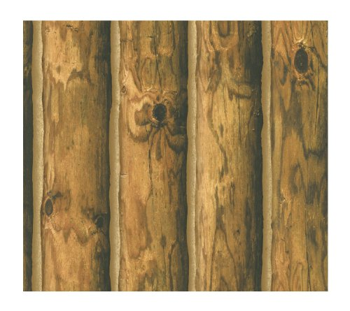 York Wallcoverings Ch7980 Lake Forest Lodge Mountain Logs Wallpaper, Orange/Brown back-393056