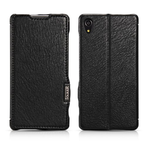 Moon Monkey Luxury Lichee Pattern Premium Genuine Leather Built-In Wallet Design Protective Folio Case For Sony Xperia Z2 With Stand Function (Mm375) (Black)
