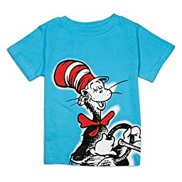 Bumkins Dr. Seuss Short Sleeve Toddler Tee, Blue Cat in Hat, 3T