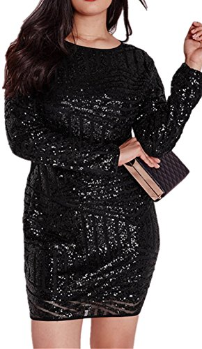 Black Plus Size Sequin Mesh Mini Dress for Women SiYuan XXXL