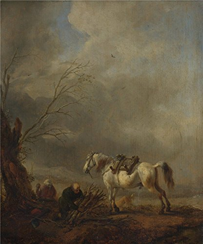 'Philips Wouwermans A White Horse And An Old Man Binding Faggots ' Oil Painting, 30 X 36 Inch / 76 X 92 Cm ,printed On High Quality Polyster Canvas ,this Vivid Art Decorative Canvas Prints Is Perfectly Suitalbe For Game Room Decor And Home Decoration And Gifts