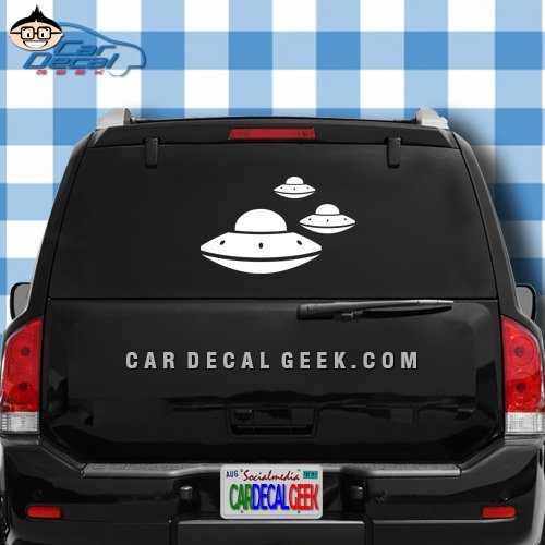 3 UFO's Flying Saucer Sci-Fi Car & Truck Window Decal Sticker, Laptop Decal Sticker, Macbook Decal Sticker, Wall Decal Sticker , 20-Inch , Silver