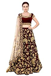Fabron Maroon machine embroidery lehenga choli with sequins embellished.