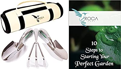 Gardening Tools and Garden Tools Organizer Bag by ROCA Home. Best Gardening Kit for Gardening Gifts