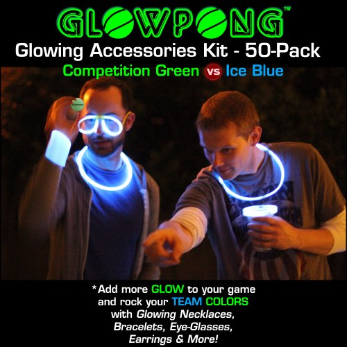 GLOWPONG Glowing Accessories Kit (50-pack) - Competition Green vs Ice Blue - 1