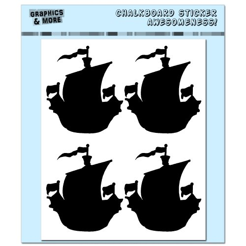 Graphics and More Pirate Ship Container Bin Labels Drink Markers Chalkboard Vinyl Stickers - Set of 4 Sheets (Pirate Containers compare prices)