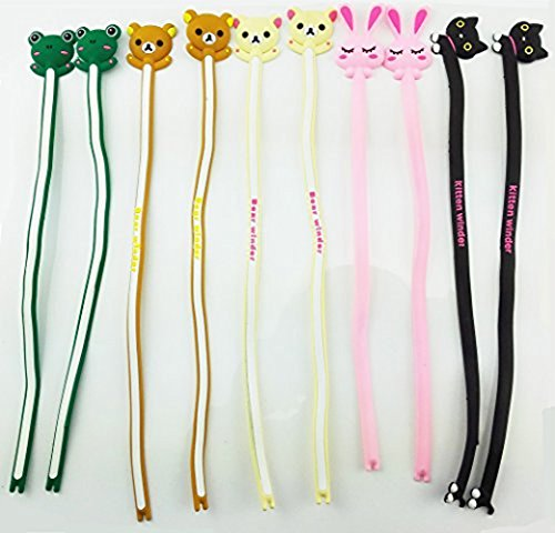 Yueton Pack of 10 Cute Frog Pink Rabbit Cat Bears Cable Tie Cord Organizer Headset Headphone Earphone Wrap Winder/ Fixer Holder / Cord Manager / Cable Winder (Headphone Cord Ties compare prices)
