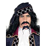 Adult Pirate Moustache and Beaded Costume Beard (Head Wrap Not Included)
