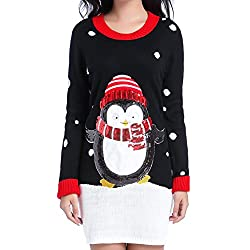 Women Christmas Sweater V28 Ugly Shining Penguin Xmas Sweater Knit Jumper Dress(Black M)