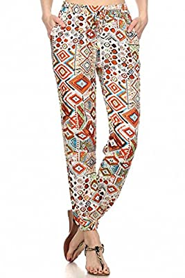 Sassy Apparel Womens Aztec Geometric Pattern Printed Jogger Pants with Pockets