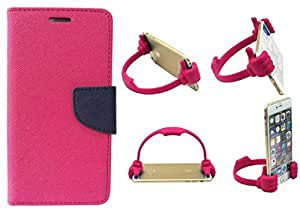 Novo Style Wallet Case Cover For Sony Xperia Z2 Pink + Ok Stand For Smartphones And Tablets
