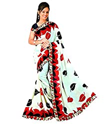 Tarang Women's Designer Georgette Fancy Saree with Blouse (Off-White)