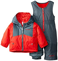 Columbia Baby Boys\' Double Flake Reversible Set, Bright Red/Graphite, 12-18 Months