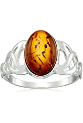 Sterling Silver Honey Amber Oval Ring