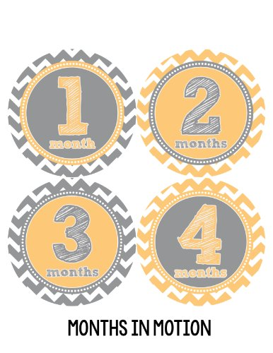 Months in Motion 282 Monthly Baby Stickers Milestone Photo Prop Yellow Chevron
