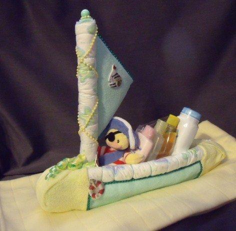 Green Diaper Sailboat Baby Shower Gift Sail Boat Nautical