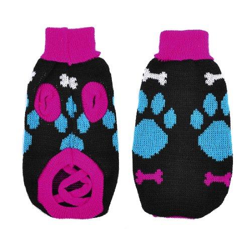 Dog Paw Knitting Pattern : Pet Dog Blue Fuchsia Knitting Paw Bone Pattern Sweater ...