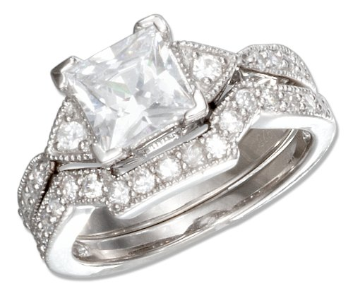 Sterling Silver Vintage Design Princess Cut Cubic Zirconia Wedding Ring Set (size 08)