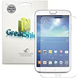 Greatshield Ultra Smooth Anti-Scratch Screen Protector Shield Foil Film for Samsung Galaxy Tab 3 8.0 Tablet (3 Pack) - Lifetime Replacement Warranty (Crystal Clear HD)