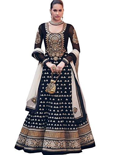 DivyaEmporio Women Faux Georgette Dress material (DE-2058_Black_Black_Free Size)