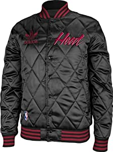 Miami Heat Adidas Originals NBA Throwback Quilted Satin Button Jacket by adidas