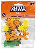 Creative Hands by Fibre-Craft - 50-Piece Safari Glitter Foam Stickers - Arts and Crafts - No Glue or Scissors Required - For Ages 3 and Up