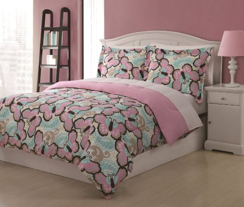 Full Microfiber Kids Paisley Butterfly Bedding Comforter Set Pink front-30453