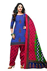 Rajlaxmi Woman's Cotton Unstiched Dress Material Multi Coloured Light Blue & Patterned Red