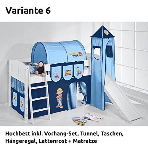 Hochbett Spielbett IDA Bob der Baumeister, mit Turm, Rutsche und Vorhang, weiß, Variante 6