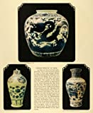 This is an original 1931 color print of three different vases and jars from the Ming dynasty. Characteristic of the Ming ceramics are the white jars with blue underglaze. Shown in the pots are various images of flowers, dragons, animals, and ...