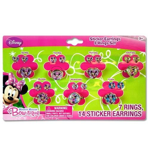 Minnie Mouse Bow-tique 7 day a week Ring and Sticker Earring Set - 1