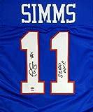 "NEW YORK GIANTS PHIL SIMMS AUTOGRAPHED BLUE JERSEY ""SB XXI MVP"" PSA/DNA STOCK #91401"