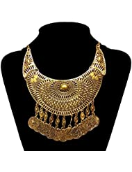 The Trendy Trendz Tribal And Gypsy Style Oxidised Golden Statement Necklace Pendant For Girls And Women