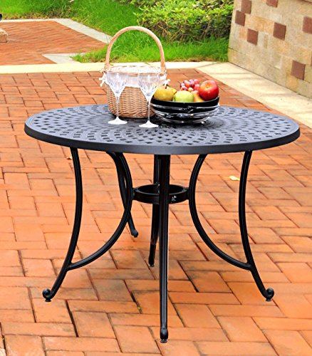Crosley Furniture Sedona 42-Inch Cast Aluminum Dining Table, Charcoal Black (Cast Aluminum Patio Table compare prices)