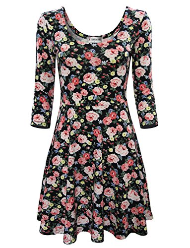 Tom's Ware Women Elegant Floral Print Long Sleeve Scoop Neck Flare Dress TWCWD100