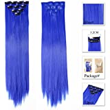 Neitsi Bundle 10 Pieces of 50cm Multi-Colors Party Highlights Clip In Synthetic colored Hair Extensions ombre hair weft Pieces Colorful