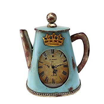 "Creative Home Distressed Tea Kettle Shape Metal Clock, 11"" x 4-3/4"" x 13"", Aqua Blue"