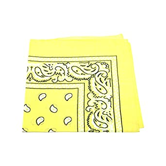 [UK SELLER] Men's/Women's Bandana Head Scarf Neck Scarves Paisley 100% COTTON (Light YellowMen's Bandana Head Scarf)