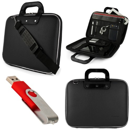 Lenovo Black Sumaclife Cady Semi Hard Case W\/ Shoulder Strap For Lenovo Ideapad U Series Model U510 15.6-Inch Ultrabook Laptops + Red 4GB Flash Memory USB Thumbdrive