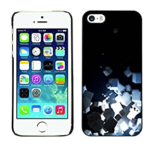 Omega Covers - Snap on Hard Back Case Cover Shell FOR Apple iPhone 5 / 5S - Light Bright Black Minimalist Cubes