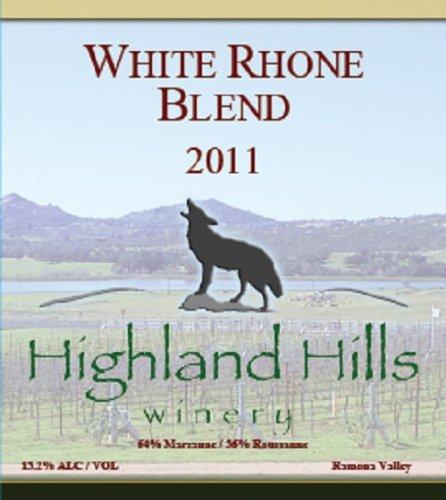 2011 Highland Hills Winery White Rhone Blend Ramona 750 Ml