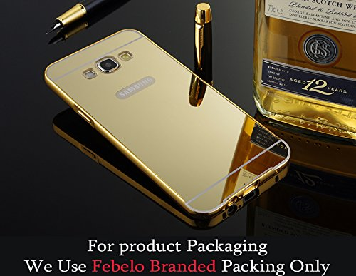 Febelo Branded Luxury Metal Bumper Acrylic Mirror Back Cover Case For Samsung Galaxy ON7 - Gold Plated
